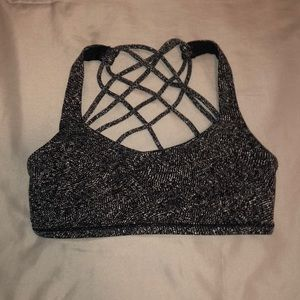 black and white patterned lululemon sports bra